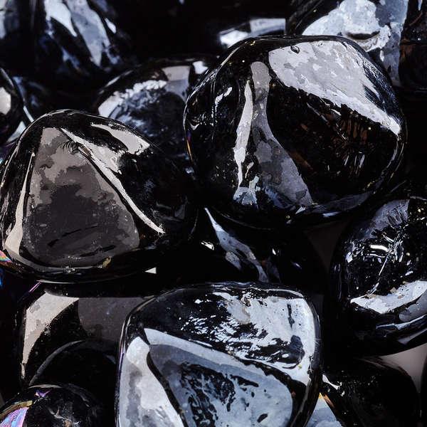 Midnight Black Fire Glass Diamonds