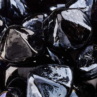 Midnight Black Fire Glass Diamonds