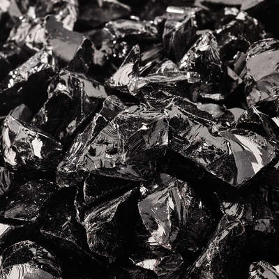 Midnight Black Crushed Fire Glass