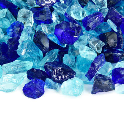 Mediterranean Blues Crushed Fire Glass Blend